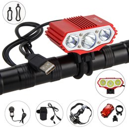 rechargeable headlamp red Coupons - Red Bike Headlamp 15000lm 3x XM-L T6 Front Bicycle Light Camping Headlight with Safety Rear Light and Rechargeable Battery Set