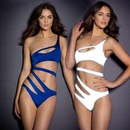 Wholesale Bodysuit Swimwear - 2018 New Fashion Sexy Swimwear Women Bandage Swimsuit One Piece Swimming Bathing Suit Bodysuit White, Blue 67