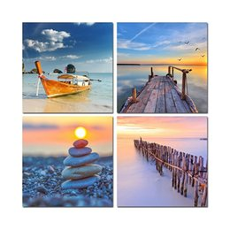 Wholesale sunset sea - Home Room Frame HD Prints Decor 4 Pieces Stones Sea Bridge Ship Sunset Seascape Paintings Picture Canvas Modular Wall Art Poster