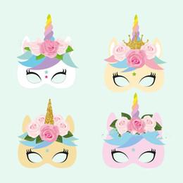 materiais de decoração de aniversário Desconto 12 pcs 1 conjunto de papel de cor do unicórnio máscara de papel masquerade máscaras para festa de aniversário dress up 10 pc z