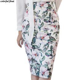 Wholesale Slim Waist Bag - 2017 special fashion big flower high waist printing bag hip skirt Slim knee knee skirts