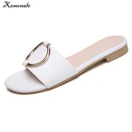 1ebb20c79596 Xemonale 2018 Summer Slippers Sandals Beach Shoes Flip Flops Women Leather  Slides Flat Mules Ladies Flipflops