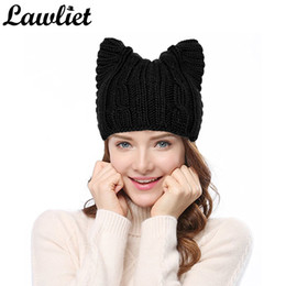 Sombreros de las mujeres de invierno gorros de punto sombrero sólido lindo  maullido oreja gato chica sombreros de lana más caliente gorro de ganchillo  ... d896d4a5eb9