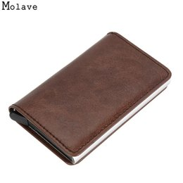 Wholesale wholesale card holders - AA Naivety Unisex Card Holder Alloy PU Leather ID  Protector Purse Mini Wallet 28S7904 drop shipping