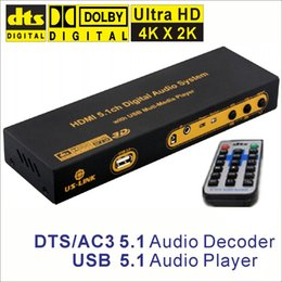 Wholesale Optical Decoder - 4K*2K HDMI to HDMI Extractor Converter Splitter DTS AC3 5.1 Audio Decoder DAC USB Media Player SPDIF Optical Coxial ARC 3D