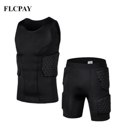 Gilet d'entrainement en Ligne-Nouveau Short En Nid D'abeille Basket-Ball + Gilet Serré Football Maillots Protection Du Corps Équipement de Protection Masculin Shorts De Formation Genouillères Gym