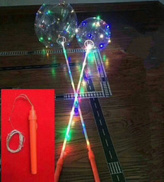 Wholesale transparent christmas lights - LED Luminous LED Bobo Balloon Flashing Light Up Transparent Balloons String Light with Hand Grip Christmas Party Festival Decorations