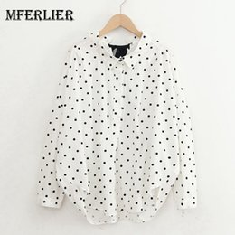 Wholesale dotted blouse - Mferlier Summer Chic Women Shirts Peter Pan Collar Back Lace Up Dot Print Loose Casual Mori Girl Cotton Blouse