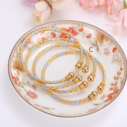Wholesale Silver Bangles For Children - whole sale4pcs New Gold & Silver Cuff Bangle for Women Female Bracelets Bangles Mixed Color Jewelry men bangle kids children girls