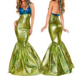 Trajes de sirena para mujer sexy online-VASHEJIANG Sexy Amazing Mermaid Tail Costume Adultos Fantasia Mermaid Princess Cosplay Deguisement disfraces de Halloween para mujeres