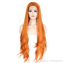 Wholesale wigs long layered - Cosplay New Sexy Glueless High Temperature Fiber Natural Hair Fiber Wigs Layered Long Loose Wave Orange Synthetic Lace Front Wig For Women