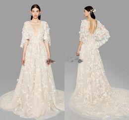 Wholesale Marchesa Bridal Dress - Marchesa Butterfly Sleeve A-line Wedding Dresses 2018 Custom Plus Size Dubai Arabic Princess Bridal Civil Wedding Gowns with Flowers