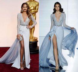 Zuhair Murad 2018 Split Evening Dresses Long Sleeved Plunging Neckline Side  Slit Embellished Beading Prom Celebrity Pageant Gowns 34e0e8513