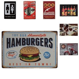 Wholesale holiday places - Retro European Style Metal Iron Painting For Western Restaurant Multi Place Suspension Art Tin Poster Unique Design Tins Sign 20*30cm ZY