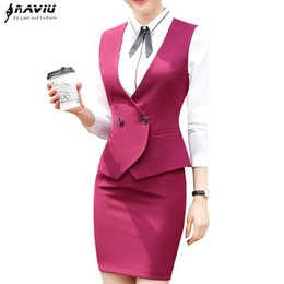 Business interview Vest skirt suits set women 2018 fashion new formal slim  vest and skirt office ladies plus size work uniforms edc2244ef86f