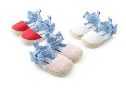 Wholesale Bebe Summer Dresses - 2018 new Baby Princess Girls Mary Jane Shoes First Walker Cowboy blue bow Bebe Ballet Dress Walking Shoe soft soled