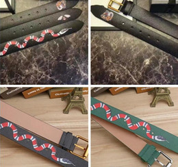 Wholesale Belt Patterns - Luxury Brand Designer Belts for men Fashion High quality snake tiger bee pattern Black and green Genuine leather buckle belt for women B526