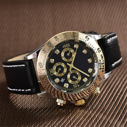 Wholesale Pin Diamond - relogio masculino diamond luxury watch top brand mens designer automatic gold watches Digital black dial belts leather strap quartz clock