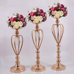 Wholesale Golden Flower Patterns - Classic Metal Golden Candle Holders Wedding Table Candelabra Home Party Centerpiece Flower Rack Crown pattern Vase 10 PCS  Lot