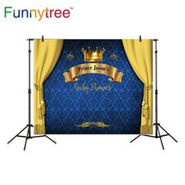 Damast fotografie hintergrund online-Funnytree Prinzenfotografie-Hintergrund-Babyparty königliches blaues Kronendamastgeburtstagshintergrund photocall Fotostudio gedruckt