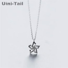 windmill pendant Coupons - Uini-Tail hot new 925 sterling silver hollow hand-drawing windmill necklace personality five-pointed star clavicle chain
