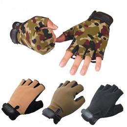Wholesale mens gloves xl - 1 Pair Outdoor Driving Tactical Exercise Half Finger Fitness Gloves Sports Fingerless Microfiber Mens&womens Training Gloves