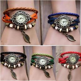 Grüne frauen armband uhren online-Retro Quartz Pendant Wrist Watches Fashion Weave Wrap Around Leather Bracelet Bangle Womens Tree Leaf Green Girl Watch
