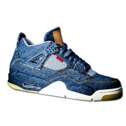 Wholesale advanced shoes - Men's Classic Spliced denim 4s Blue cement IV Casual shoes Advanced fashion customization Basketball Shoes New sports sneakers With box SIZE