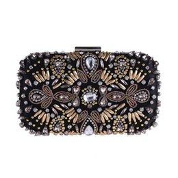 Vintage Luxury GEM strass nero borse da sera frizione donne lunga catena diamante borsa tracolla in rilievo festa di nozze borsa frizione da