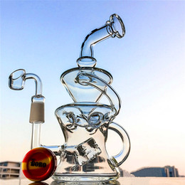 Wholesale free eggs - New Design Glass Bongs Half Fab Egg Shape Dab Oil Rigs 14.5mm Male Joint Recycler Cube Perc Purple Water Pipes with Banger