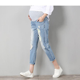 Wholesale Trouser Jeans For Pregnant Women - Jeans Maternity Pants For Pregnant Women Clothes Trousers Nursing Prop Belly Legging Pregnancy Clothing Overalls Ninth Pants New