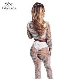 sexy lycra dress Coupons - Edgension 2018 Beach Sexy Mesh Crop Tops Pants Set Woman See-through T-shirt Pants Twinset Casual Fishnet Tees Tops Trousers Set