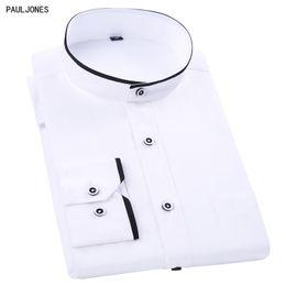PAULJONES New Long Sleeve Mandarin Collar Men Dress Shirts White Black Vintage Chinese Style Tranditonal Casual Business Shirts supplier business style dress от Поставщики платье бизнес-стиля