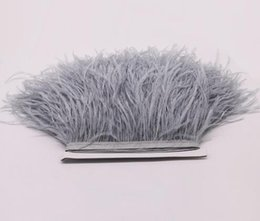 Wholesale Wholesale Ostrich Feather Trim - 3meter  Lot Sliver Gray Ostrich Feather Tirms Height 10 -15cm Ostrich Feather Trimming for Dance Dress Clothing Making Party Decorations