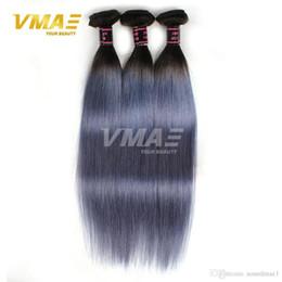 Wholesale Brazilan Hair - 1B gray Straight Brazilan Human Hair Extensions Ombre Color Virgin Human Hair Brazilian Virgin Human Hair 8-30 inches Free Shipping