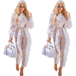 9e8a95fb7191 Sheer Mesh Long Sleeve Jumpsuit for Women Sexy White Lace See Through  Floral Ruffle Rompers Christmas Party Club Long Jumpsuit WE770147