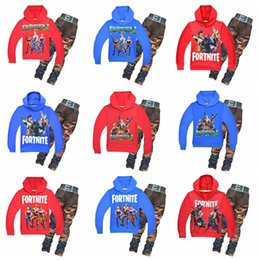 Wholesale games outfit - New Cool Kids Suits Novelty Fortnite Game Boys Outfits Casual Camouflage Printed Clothes Hooded Multi Styles NNA191