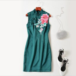 Wholesale Sleeveless Cheongsam - European women's wear 2018 The new spring sleeveless collar The peony embroidery Cheongsam style dress
