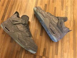Wholesale Thunder 4s - KAWS x 4s iv denim J's jeans cool grey black suede Toro Bravo Bred Oreo Thunder Cement 4s Men Basketball Shoes Sports Sneaker free Shipping