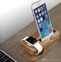 Teléfono celular Cargador Dock con reloj Bamboo Holder Escritorio Soporte cargador de madera para Apple Watch iPhone 7 6s Plus Teléfono Bamboo Charger Station desde fabricantes