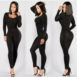Wholesale Womens Party Clubwear - Fashion Womens Long Sleeves Bodycon Popular Clubwear Party Casual Long Jumpsuit 3 Colors