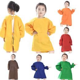 crianças pintar blusas Desconto Crianças Aventais Bib Crianças Pintura Roupas À Prova D 'Água Tinta Aventais Bebê Comer Refeição Pintura de Manga Longa Smock Têxteis Para Casa WX9-783