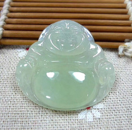 Wholesale flat round onyx - Antique Natural A Icy White Jadeite Jade Buddha God