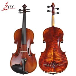 Wholesale Violin Brands - TONGLING Brand Master Hand-made Carved Maple Violin Naturally Flamed Customized Antique Violin 4 4 Violino w  Full Accessories