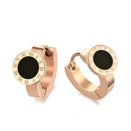 Wholesale roman letter - Oem Jewelry Roman Letters Rose Gold Color Black Stone Stud Earrings