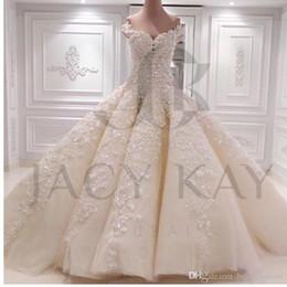 Wholesale Exquisite Wedding Dress Off Shoulder - 2017 Gorgeous Lace Applique Bead Ball Gown Luxury Wedding Dresses Off-Shoulder Chapel Train Long Bridal Gowns NO Sleeve Vestidos Exquisite