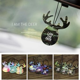Wholesale Perfume Ornaments - Car Styling Hanging Perfume Air Freshener Cute Antlers Fragrance Papers Rear View Mirror Ornament Car Interior Decoration GGA165 200pcs