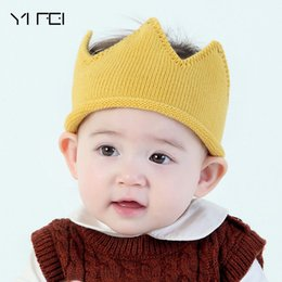 Wholesale football photo prop - Kids Baby King Great Crown Hats Children Sweater Birthday Hat Kid Girls Boys Knied Caps Lovely Beanie Photo Props Hat