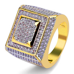 Wholesale great accessories - Male 18K Gold Plated Jewelry Ice Out Cubic Zirconia Rings For Men Top Quality Hip Hop Zircon Ring Brand Design Hiphop Accessories