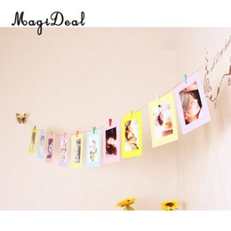 Wholesale Hanging Rope Frame - MagiDeal DIY Craft Paper Hanging Album Photo Frame Fanily    Company   Cafe Wall Picture Display Rope Clips 6'-Great Gift